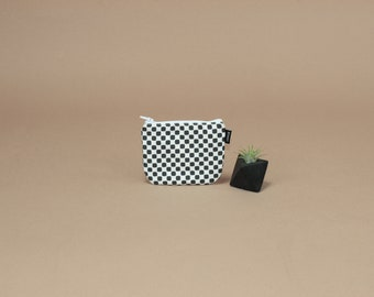 Coin Pouch in Modern Checkers Print.  Small Zipper Pouch, Change Purse, Zip Wallet, Gift for Her.  Made in USA.