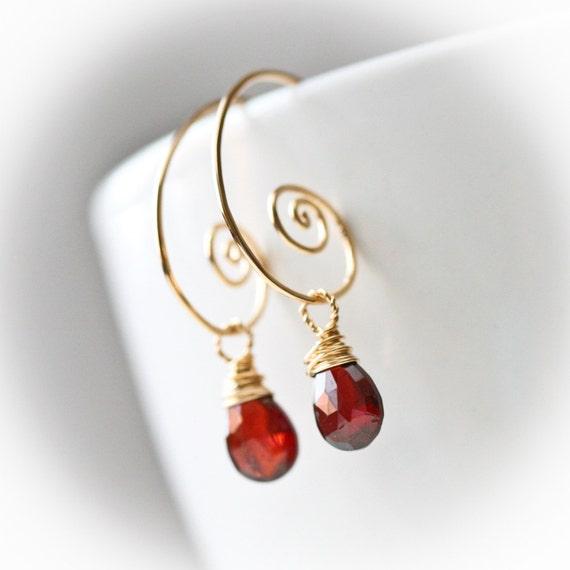 Cranberry - Red Garnet - Gold Filled Wrapped Briolette Hoop Earrings