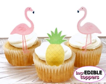 Flamingos Cake Topper | Pineapple Cake Topper | Edible Cupcake Decorations | Tropical Birthday, Wedding, Baby Shower, Bridal Shower, Mother