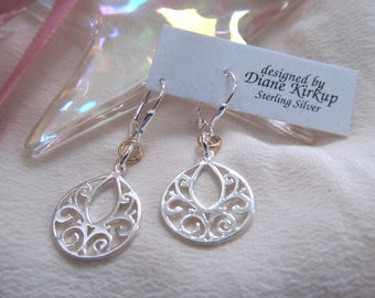 Simple Elegance - Sterling Silver Lever Back Earrings With A Touch Of Gold-Filled
