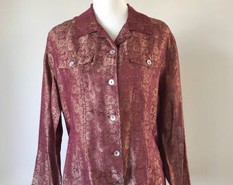 Vintage Chicos Silk Floral Blouse - Women's size Medium