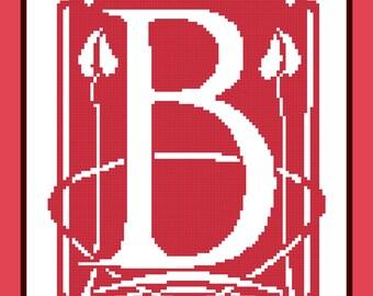 Morris Initial B  Needlepoint pattern PDF download