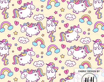 Unicorn Fabric By The Yard - Yellow / Fat Unicorn Fabric / Childrens Fabric / Kids Crafts / Magical Fantasy Print in Yards & Fat Quarter