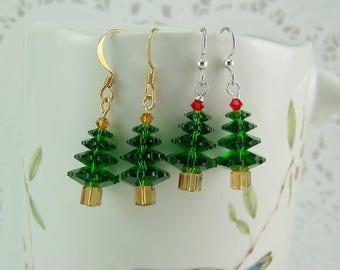 Crystal Tree Earrings, Christmas Tree Earrings, Swarovski Trees, Holiday Earrings, Pine Tree Earrings, Tree Earrings, Emerald Earrings
