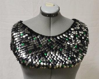 Scalemail Mantle in knitted Dragonhide Armor available for custom order