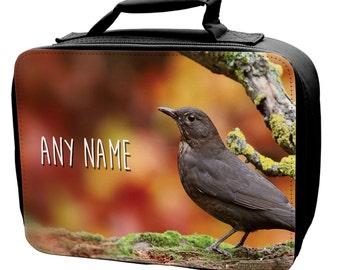 Personalised Blackbird Lunch Bag - school - kids - children -girls -boys