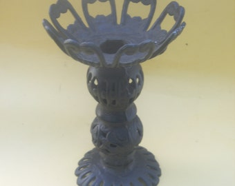 Ornate Black Cast Iron Cutout Pillar Candle Holder