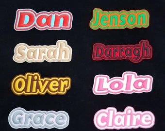 Personalised Embroidered Name Patch Badge G1 Girls Boys Iron on or sew