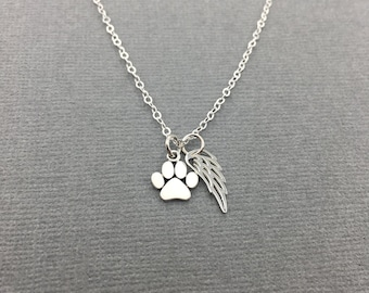 Paw Print with Angel Wing Necklace, Gift for Friend Who Loss Pet, Silver Cat Memorial Necklace, Dog Paw Print Charm, Dog Cat Angel Jewelry