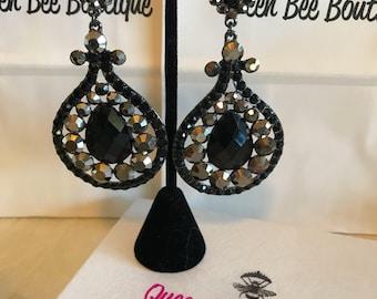 Black and Charcoal  Austrian  Crystal Chandelier Earrings