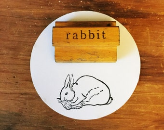 Vintage Rabbit Stamp / Wooden Rabbit Stamp / The Classroom Printer / Bunny Stamp / Easter Stamp / Farmhouse Decor / Rabbit Stamp