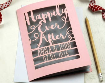 Personalised Laser Cut Papercut Wedding Happily Ever After Card, sku_happily_ever_after