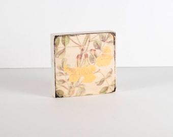 Art Block, Botanical 006, Flower Print, Art Blocks, Boho Art, Wood Block Art, Small Art, Botanical Print, Scotch Broom