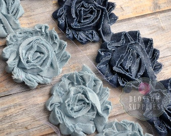 Singles, 1/2 Yard & 1 YARD Increment  - DENIM - Shabby Rose Trim - Blue Denim Flowers - Frayed Flower - Light and Dark Blue Jean Roses
