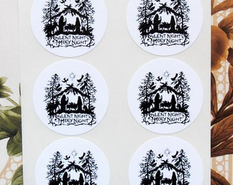 Stickers Christmas Nativity Vintage Style Envelope Seals Party Favor Treat Bag Stickers CS001