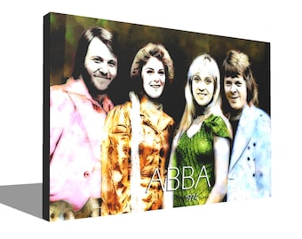 ABBA 1974 100% Cotton Canvas Print Using UV Archival Inks Stretched & Mounted