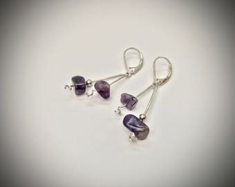 Sterling Silver and Amethyst earrings, Handmade earrings, silver and purple earrings, sterling silver, amethyst, lever back earrings