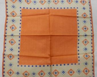 Rare Vintage Silk Hankie Never Used 1930's Mosiac Design