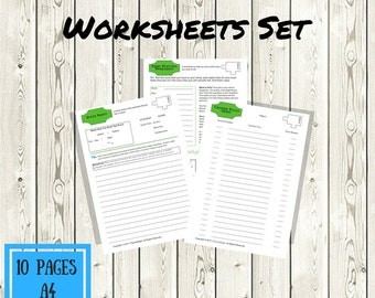 Story Plotting Worksheets Set - A4 - 8.5x11 - Writer Aides