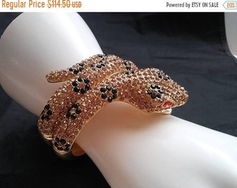 ON SALE Vintage Snake Rhinestone Crystal Bracelet - Collectible Reptile Figural Jewelry - Statement Runway Collectible Accessories