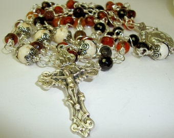Catholic Rosary, Sacred Heart of Jesus,mixed agate and white turquoise, wire wrapped **