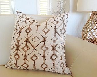 Pillow Cover Tribal Design Cushions Natural Pillows, Tan Ivory, Seafoam, Aqua, Navy Blue, Toss Cushions.