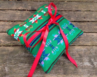 Ring Bearer Pillow - Green Mini Cushion - Aztec nursery Decor - Mexican Wedding Decoration - Tribal Boho Home Decor - Rustic Bowl Filler -