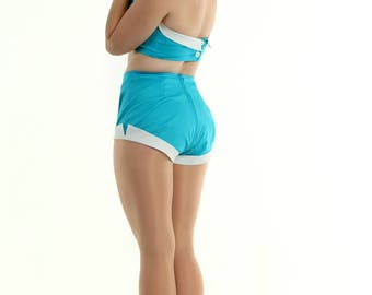 Teal and White Picnic 2 Piece Playsuit