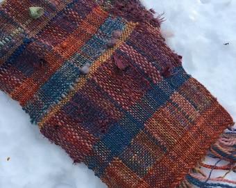 Handwoven Saori Style Scarf/  Wool and Silk Textured Wild Woven Fiber Art Scarf