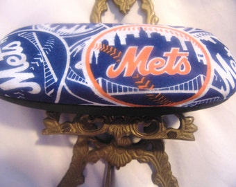 Adult unisex hard eyeglass case, N.Y. Mets theme, two designs handmade, vision accessory, carryall or purse item, vision gift item,
