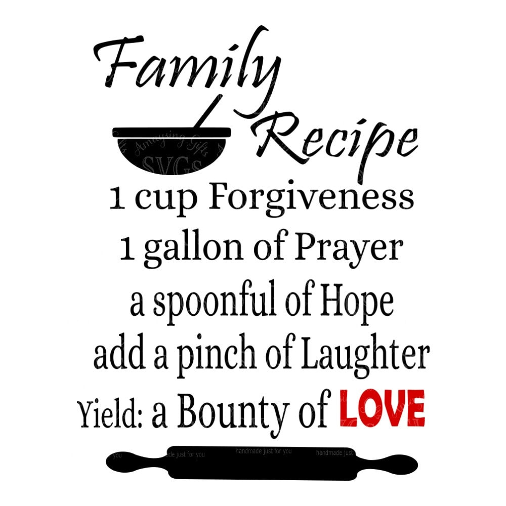 SVG Family Recipe Kitchen Decor SVG Kitchen Towel svg