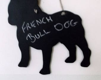 French Bulldog shaped chalkboard unique handmade moisture resistant MDF message grooming salon sign pet lover gift frenchie