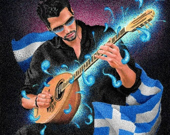 Greek bouzouki player art print