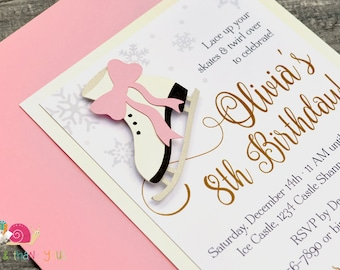 Ice Skating Party Invitations · A2 LAYERED · White Metallic Shimmer with Pink and Gold · Birthday Party | Figure Skating | Winter