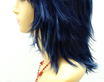 12 inch Midnight Dark Blue Shag Style Wig. Straight and Layered w/ Bangs. Cosplay Wig. [12-86-Cosmic-MBlue]
