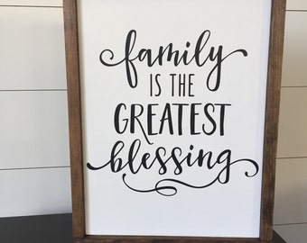Family is the Greatest Blessing // Framed Wood Sign // Farmhouse Decor // Rustic Wood Sign // Farmhouse Sign // Living Room Decor