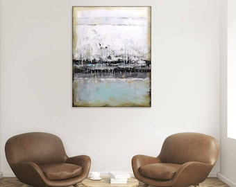Large Abstract Original Painting Contemporary Art Vertical Painting Neutral Blue Painting Modern Art Large Canvas Acrylic Painting Artwork