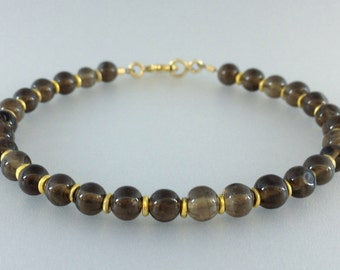 Bracelet with smokey Quartz and 14K gold plated elements - gift idea - smokey brown polished beads - natural gemstone