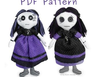 """10"""" Gothic Rag Doll  PDF Sewing PATTERN & Easy to Follow Instructions, Make your Own, Fun Sewing Project"""