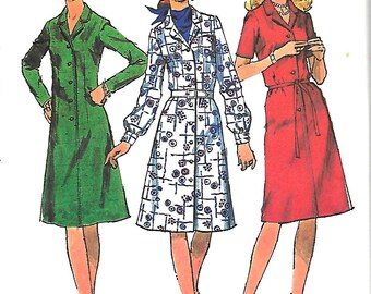 1970's Simplicity 9703 Sewing Pattern, Misses Step in Dress With Three Sleeves, Size 18, Bust 40, UNCUT