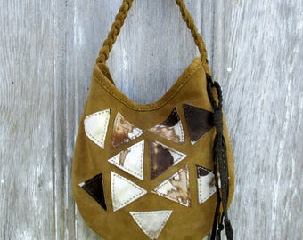 Geometric Triangle Suede Leather Shoulder Bag by Stacy Leigh in Golden Brown with Acid Washed Hair on Calfskin - Hand Stitched OOAK Handbag