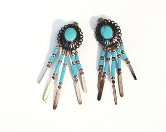 Native Inspired Turquoise and Sterling Silver Earrings