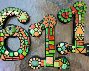 """MOSAIC HOUSE NUMBERS - 10"""" Tall - Totally Customizable - Mixed Media  - Order 10"""" Size Numbers From This Listing / 2 Fonts Offered - Unique!"""