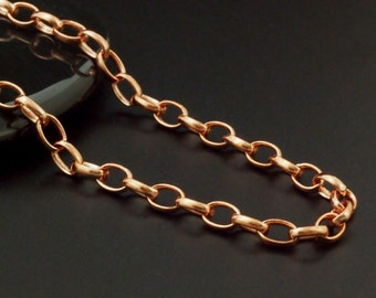 Solid Copper 3.8mm Links - Flat Oval Cable Chain - By the Foot or Finished