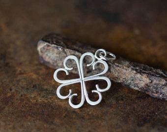 Dainty Four Leaf Clover Pendant, Small Light Handcrafted Lucky Shamrock, Sterling silver, Good Luck Charm, Artisan Handmade
