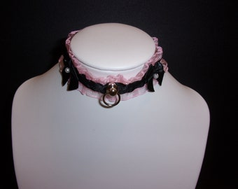 Kitten Pet Play Collar Choker Necklace DDLG BDSM Daddy Dom Choker with Metal O Ring Necklace 4 Styles Fetish Novelty