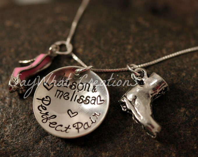 The Perfect Pair Necklace Combat Boot and High Heel Personalized hand stamped sterling silver great for military wives girlfriends
