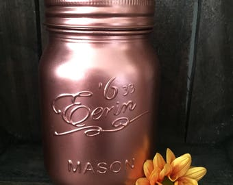 Handfinished Copper Painted Glass Mason Jar