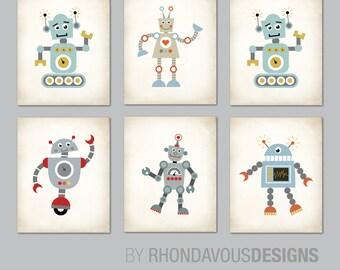 Robot Nursery Art. Robot Art. Boy Nursery Art. Boy Nursery Decor. Baby Boy Shower Gift. Playroom Wall Art Prints. Robot Wall Art. NS818
