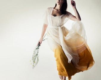 Ombré wedding dress, Dip dyed wedding dress, Infinity wedding dress, color wedding dress, Beach wedding dress, Plus size, silk dress, MYRTLE